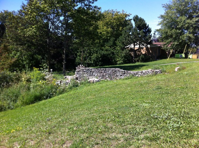 Old foundation wall on a grassy slope
