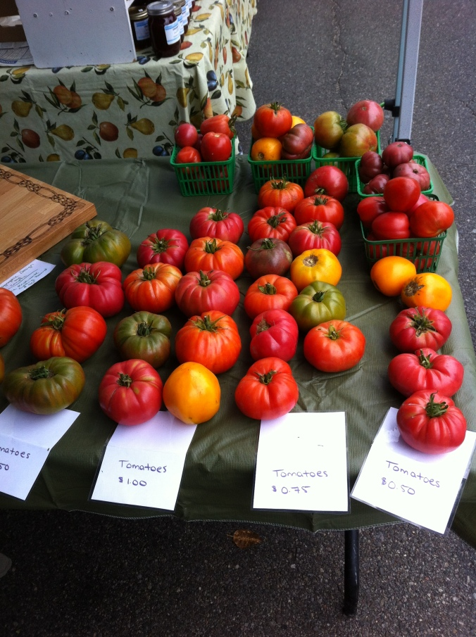 a table of multicoloured tomatoes